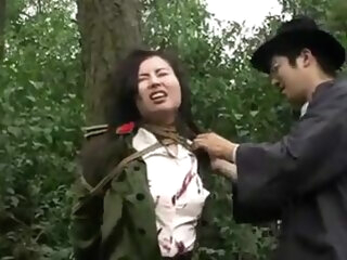 Chinese army girl tied to tree 1 asian asian